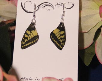 Small Black and Yellow Tiger Swallow Faux Butterfly Wing Earrings