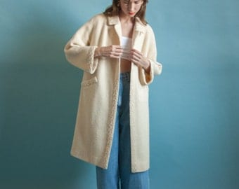 patterned woven cream wool coat / vintage MOD coat / midi coat / s / 2070o / R4