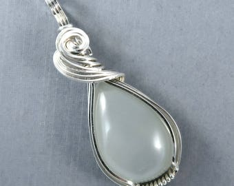 June Birthstone Genuine Moonstone Gemstone teardrop cabochon Sterling Silver wire wrapped and sculpted pendant Gemini zodiac