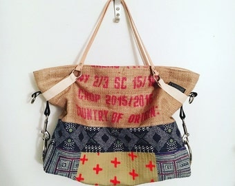 Clearance Messenger TOTE in burlap