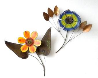 Modernist C. Jere Enamel Flower Wall Sculptures  Mid Century Modern Modernist