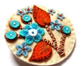 STOCKING FILLER SALE Blossom felt brooch pin with freeform embroidery - scandinavian style