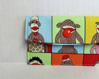 Mini Wallet - Gift Card Holder - Debit Credit Card Case -  Business Card Case  - Snap Closure - Funky Sock Monkey Fabric