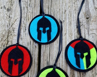 Spartan holiday ornaments Sprint, Super, Beast, Trifecta