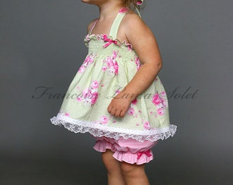 Baby girl toddler romantic pink green outfit, shabby roses halter top bloomer set, 1st birthday outfit, pastel Easter clothes, baby shower