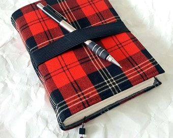 Red Plaid Journal, Elastic Bandolier Closure, Fine Handmade Journal, Diary, Notebook