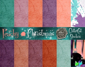 Peachy Christmas grunge plain colour-coordinated 8.5 x 11 printable digital paper for journaling scrapbooks web-pages