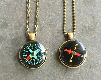 Working Compass Necklace Bold Bronze for a Man or Woman Unisex