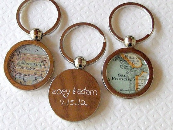 Hand Engraved Map KeyChain Ring  You Choose the City Vintage Atlas Inscribed Custom Great Groomsmen Gift Key Fob