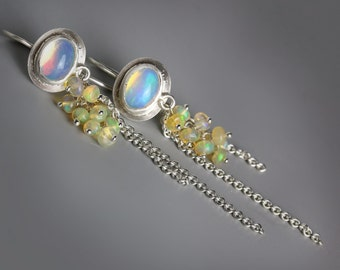 Ethiopian Opal Earrings with Opal Clusters and Silver Chains