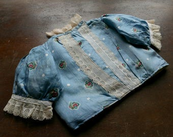Antique Baby Doll Clothes Silk Blouse