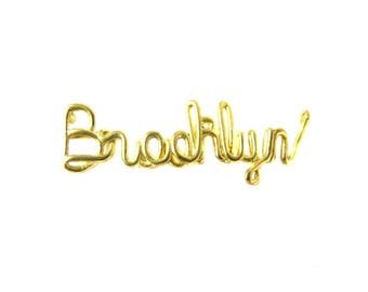 Raw Brass Brooklyn Wire Name Pendant (2X) (K615-A)