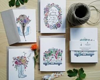 Set of Notecards, 4 Cards + Envelopes
