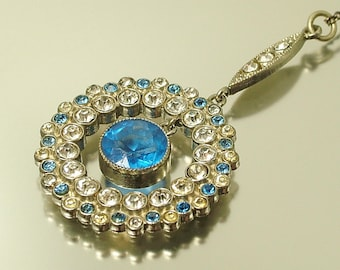 Vintage/ antique/ estate Art Deco 1930s chrome pated and blue clear paste diamante glass lavalier costume necklace - jewelry / jewellery