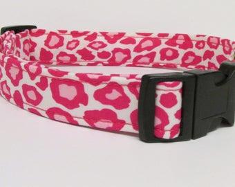 Pretty in Pink Leopard/Cheetah Printed Handmade Dog Collar
