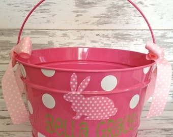 ON SALE custom personalized 16 QUART name Easter bucket featuring a patterned bunny