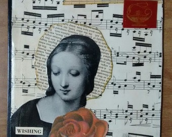 Original cut and paste collage art on book over...Wishing