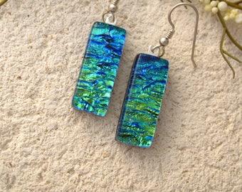 Green Aqua,Gold  Dichroic Earrings, Dichroic Jewelry, Dangle Drop Earrings, Fused Glass Earrings, Hanging Earrings, Fused Glass, 031816e100