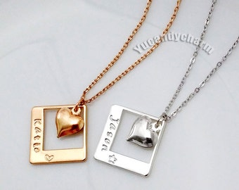 Personalized Hand Stamped Name Engraving Gold or Silver Plated Heart Charms Necklace Nickel Free Lover gift, family