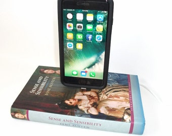 IPhone 5, 6, or 7  Charging Dock, Jane Austen Book, Docking Charger Station Sense and Sensibility