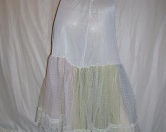 Vintage Pastel Rainbow Crinoline Slip Nylon with Netting Net Petticoat vtg Lingerie Slip Long Skirt pink blue yellow Ruffle Adult S M