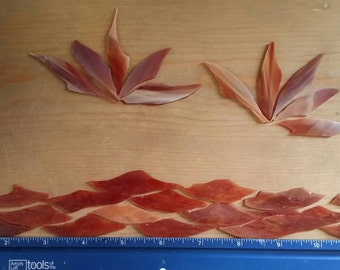 Rust Red Striated Stained Glass Shards for Mosaic Art Designing