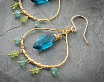 London Quartz Chandelier Earrings. Apatite and Peridot Gemstone. London Quartz Marquis Briolette. Gold Vermeil Chandelier Earring