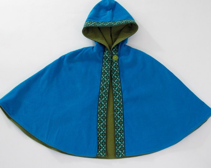 Girls Cape, Turquoise Corduroy Hooded Cape with Retro Trim, Baby Cape, Toddler Cape, Newborn Cape, Capelet, Sizes Newborn to Girls 9/10