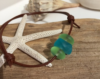 Sea glass bracelet ~ leather adjustable Unisex beach glass bracelet ~ sea glass jewelry ~ bohemian style brown bracelet ~ surfer jewelry ~