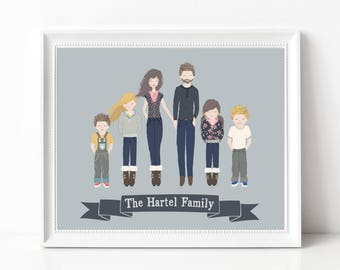 Personalized Illustrated FAMILY Gift Print - Custom Portrait Print - Personalized Family Illustration - Gift for Wife - Gift for Husband