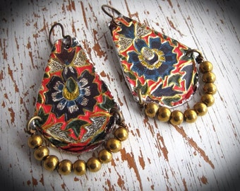 Tin Earrings. Frida Kahlo Inspired Vintage Tea Container. Bohemian Gypsy Dangle Earrings