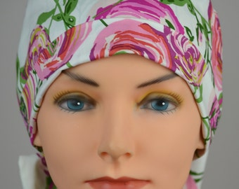 Scrub Hats // Scrub Caps // Scrub Hats for Women // The Hat Cottage // The Mini // Fabric Ties // Cabbage Rose