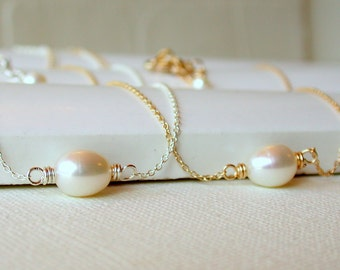 Gift for Her. Simple Pearl Solitaire. Simple Pearl Necklace. Bridesmaid Necklace. Bridal Necklace.