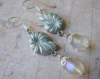 Aphrodite's Gift - Seashell Earrings with Iridescent Antique Glass