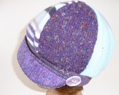 Medium - Large Purple + Blue upcycled sweater hat - upcycled recycled repurposed - Jax Hat - chemo hat - Christmas gift for her