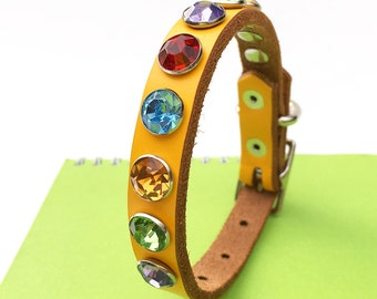 Leather Dog Collar in Bright Yellow with Giant Colorful Crystals, Size XS/S, to fit a 7-10in Neck, Extra Small Dog, EcoFriendly, OOAK