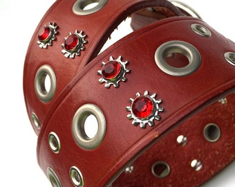 Large Red Leather Dog Collar with Gunmetal Accents and Red Crystals, Size L, to fit a 18-22 in Neck, Full Grain Leather Belt Collar, OOAK