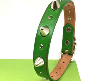 Green Leather Dog Collar with Sparkles and Gentle Spikes, Size S to fit a 11-14 Neck, Small Dog, Reclaimed Leather, Seattle Handmade, OOAK