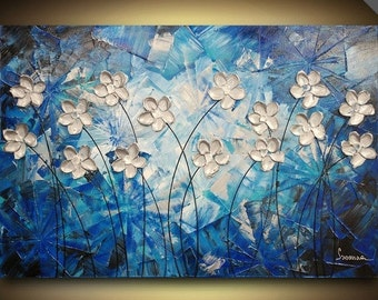 ORIGINAL Navy blue Abstract Painting Fine Art Silver Flowers Landscape Modern Palette Knife Impasto Artwork by Susanna Shap 36x24
