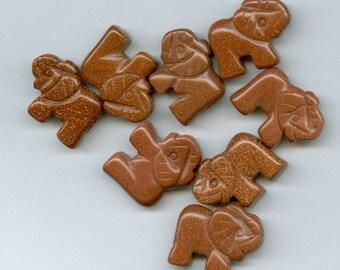 Set of 4 Brown Goldstone Elephant Gemstone Beads Half Drilled