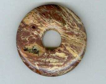 45mm Jasper Donut 45mm Brown and Cream Swirly Lined Gemstone PI Donut Focal Pendant 11103