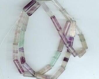 Fluorite Tube Beads, 4mm x 13mm Purple Green Fluorite Tube Gemstone Bead 4102