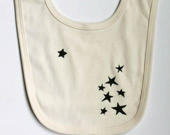 Star Design Organic Cotton Bib- Block printed in Seattle-Baby accessory