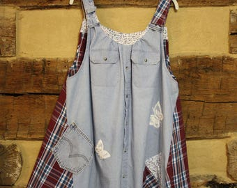 Womens Hippie Clothes Upcycled Chambray Plaid Denim Top Boho Gypsy Top Jumper w Pockets Tattered Chic Mori Girl Style Plus Size