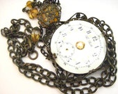 The Baltic ... Steampunk Victorian Porcelain Dial  Filigree and Topaz Glass Jewels One of a Kind