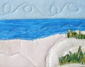 "Beach Quilted Postcard, Landscape Postcard, 5"" by 7"", Fabric Postcard, Landscape Art, Summer Vacation, Fabric Art, Vacation Memory"