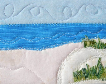 Beach Quilted Postcard,Landscape Postcard,Fiber Art,Fabric Postcard, Landscape Art, Spring and Summer Vacation, Fabric Art, Vacation Memory