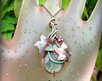 Labradorite with Pink Ivy Berries Hand Painted Pendant Necklace Petite Sized Design