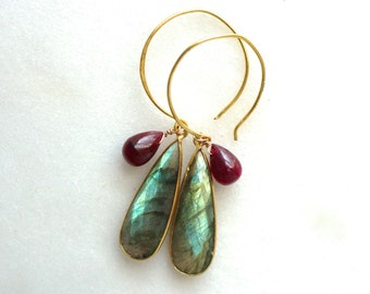 The Very Finest Labradorite, Polished Natural Ruby Oversize Hook Earrings in Gold Vermeil...