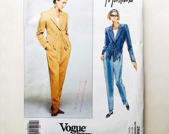 Vintage 90s Montana Vogue Designer Original Pattern Jacket & Pants Suit Uncut Size 12 14 16 Vogue 2697